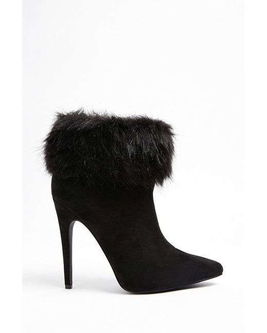 Forever 21 - Black Faux Fur Trim Ankle Boots - Lyst
