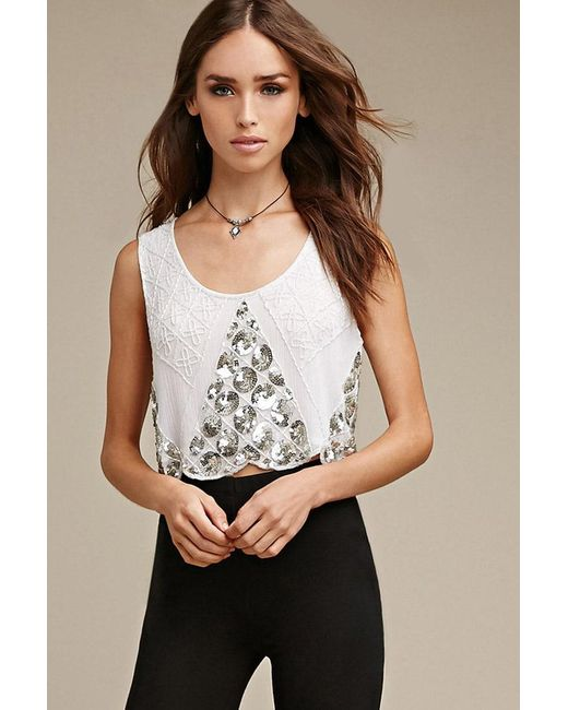 Forever 21 - Natural Raga Floral Beaded Crop Top - Lyst