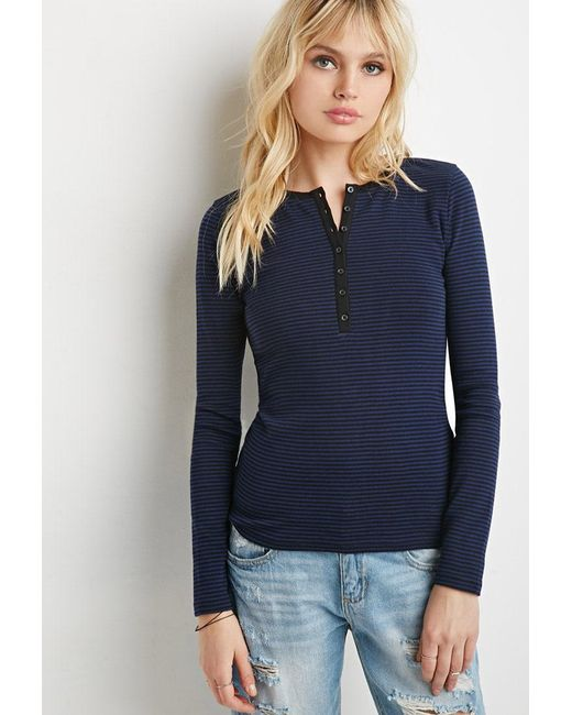 Forever 21   Blue Buttoned Stripe-patterned Tee   Lyst