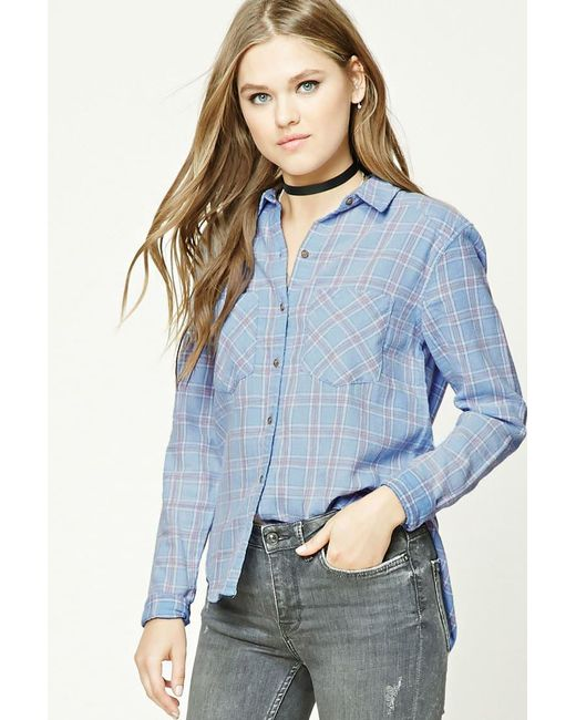 Forever 21 - Blue Dolphin Hem Flannel Check Shirt - Lyst
