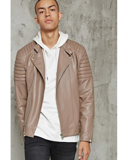 Forever 21 | Natural Ribbed Faux Leather Jacket for Men | Lyst