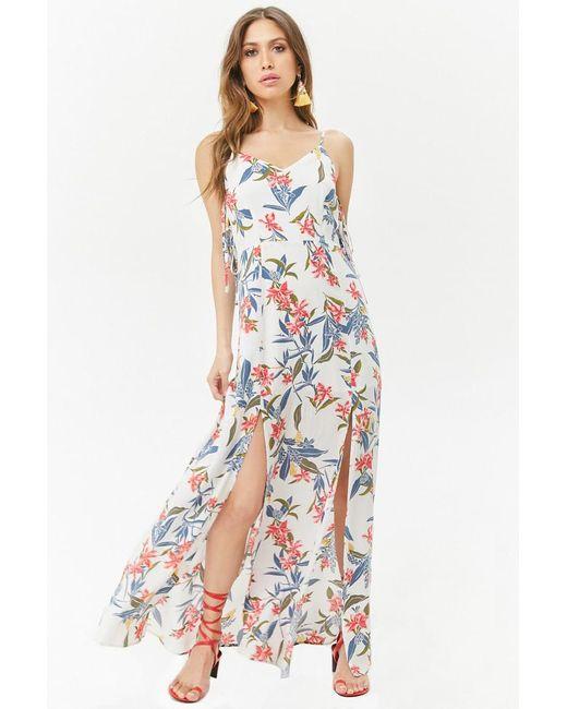 5af6c1c4f2 Forever 21 - White Floral M-slit Cami Maxi Dress - Lyst ...