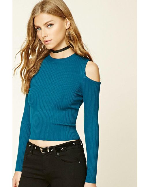 Forever 21   Blue Ribbed Open-shoulder Top   Lyst