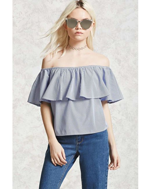Forever 21 | Blue Pinstripe Off-the-shoulder Top | Lyst