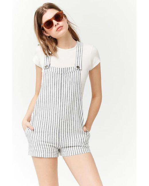Forever 21 - Blue Striped Seersucker Dungarees - Lyst