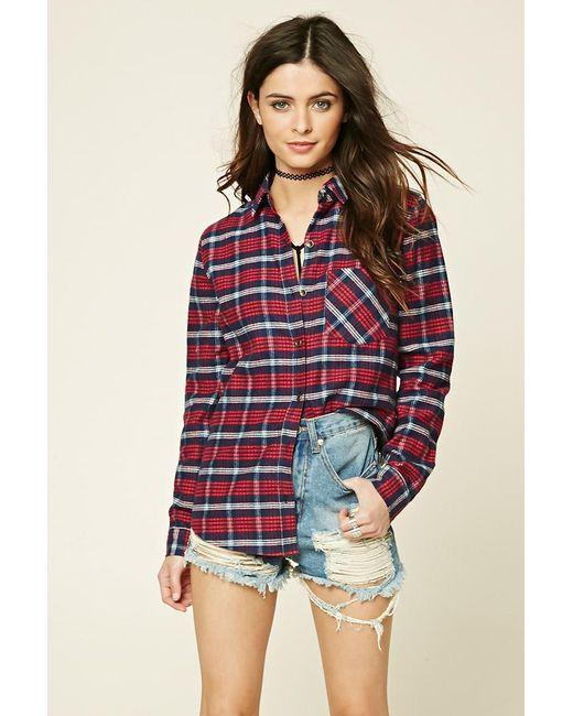 Forever 21 - Red Women's Tartan Check Flannel Shirt - Lyst