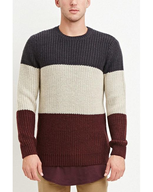 Forever 21   Red Colorblocked Wool-blend Sweater for Men   Lyst