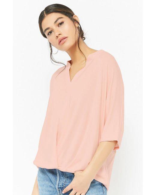 Forever 21 - Pink Split-neck Top - Lyst