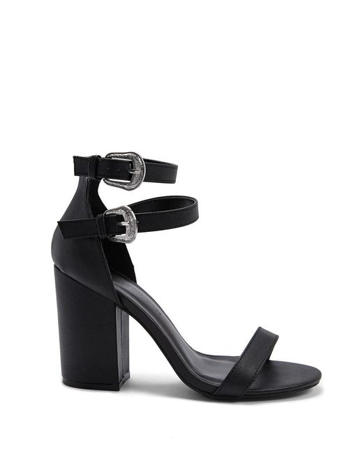 Forever 21 - Black Faux Leather Chunky Heels - Lyst
