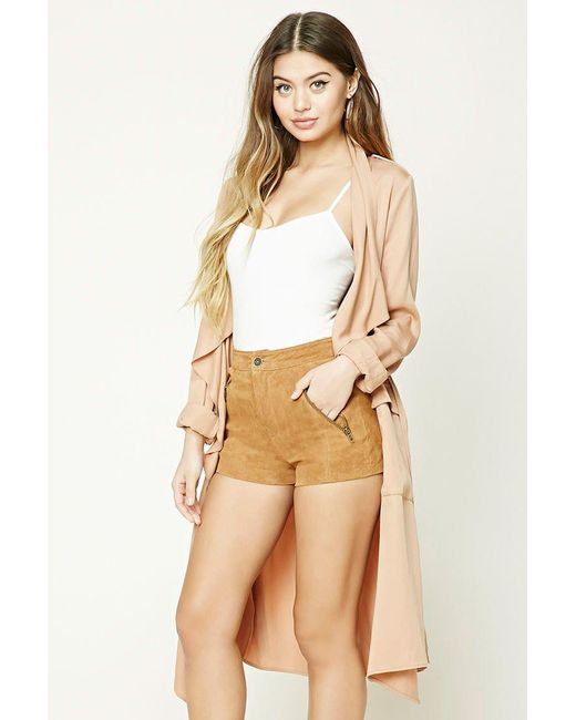 28e5abb5f676 Forever 21 - Brown Women's Genuine Suede Shorts - Lyst ...