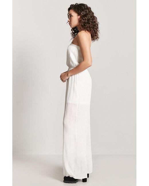 b79962117281 ... Forever 21 - White Metallic Strapless Jumpsuit - Lyst