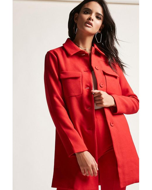 Forever 21   Red Single-breasted Twill Topcoat   Lyst