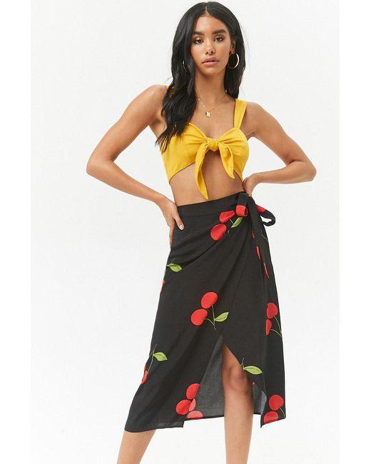 Forever 21 - Black Cherry Print Wrap Midi Skirt - Lyst