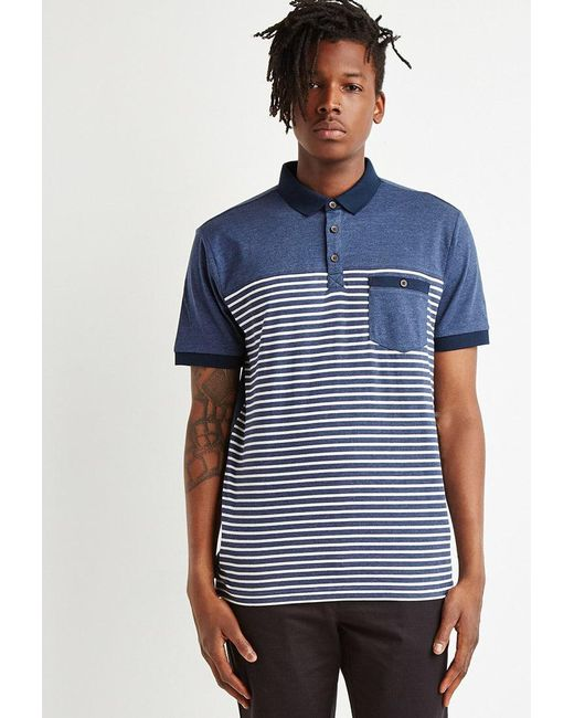 Forever 21 - Blue Striped Colorblock Polo for Men - Lyst
