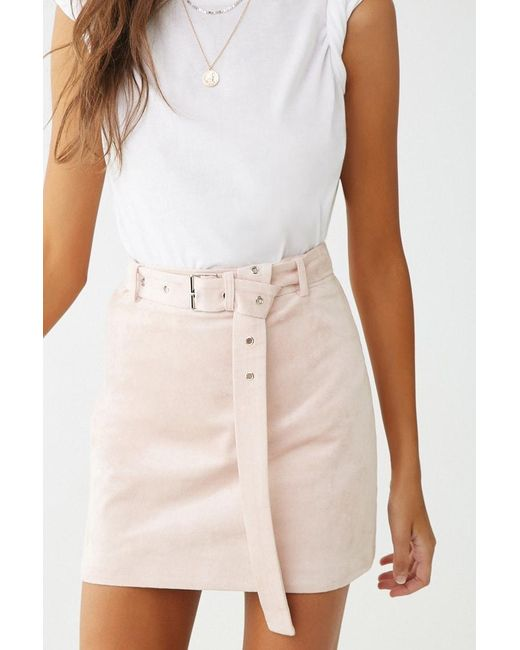 Forever 21 - Multicolor Faux Suede Mini Skirt , Blush - Lyst