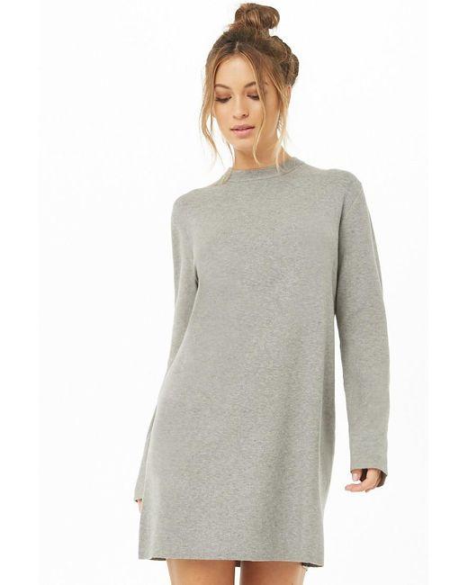Forever 21 - Gray Women's Mini Sweater Dress - Lyst