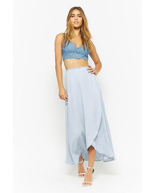 Forever 21 - Blue Chambray High-low Wrap Skirt - Lyst