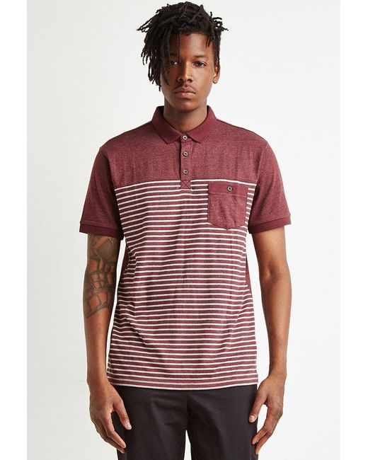 Forever 21 - Purple Striped Colorblock Polo for Men - Lyst
