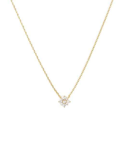 Forever 21 - Metallic Cz Floral Charm Necklace - Lyst