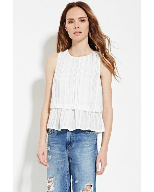 Forever 21 | White Contemporary Tonal-stripe Top | Lyst