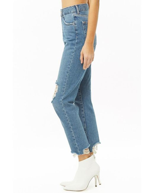 69317eec9d14 ... Forever 21 - Blue Distressed Mom Jeans - Lyst