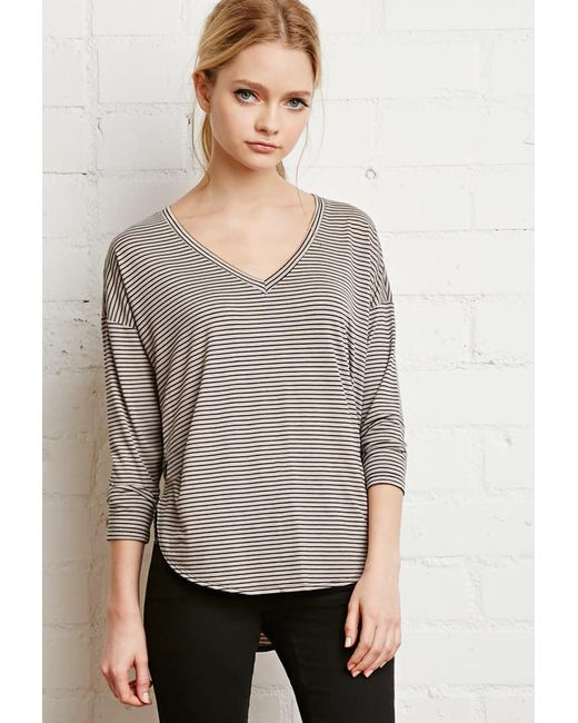 Forever 21 | Gray Striped Dolphin Hem Top You've Been Added To The Waitlist | Lyst