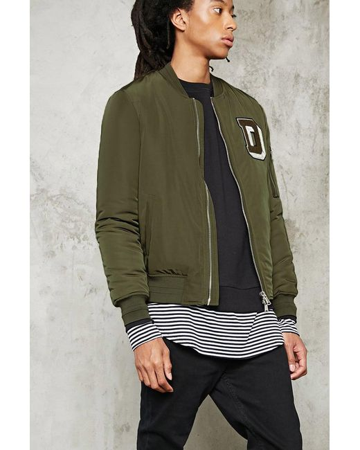 Forever 21 | Green D Patch Bomber Jacket for Men | Lyst