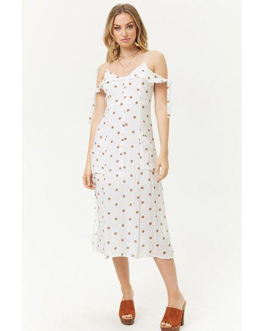 Forever 21 - Multicolor Polka Dot Open-shoulder Dress - Lyst