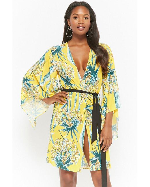 Forever 21 - Yellow Floral Open-front Kimono - Lyst