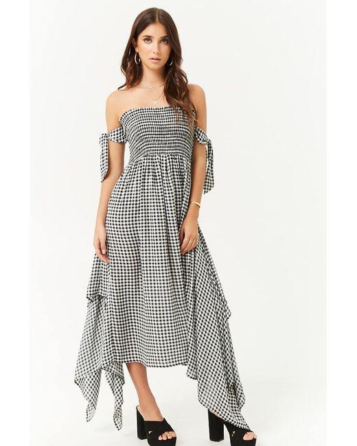 3859ae6238f Forever 21 - Black Gingham Handkerchief Hem Maxi Dress - Lyst ...