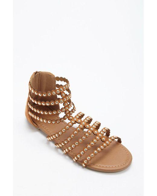 ... Forever 21 - Brown Studded Faux Suede Gladiator Sandals - Lyst 9a62268e5ef0