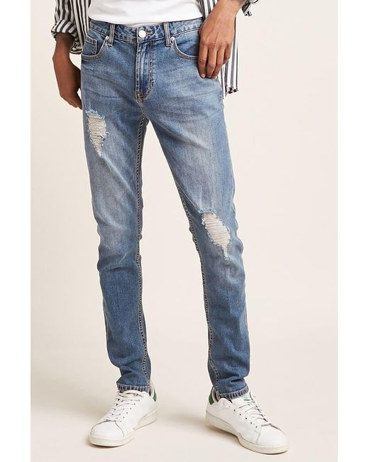 Forever 21 - Blue Distressed Skinny Jeans for Men - Lyst
