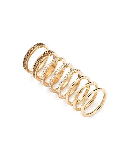 Forever 21 | Metallic Rhinestone And Glitter Ring Set | Lyst