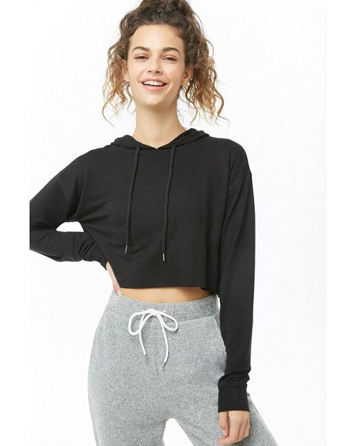 Forever 21 - Black Active Hooded Knit Top - Lyst