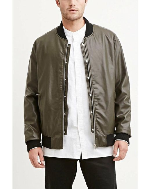 Forever 21 - Green Faux Leather Bomber Jacket for Men - Lyst
