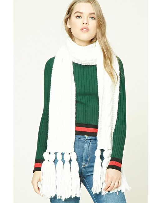 Forever 21 - White Tasseled Cable Knit Scarf - Lyst