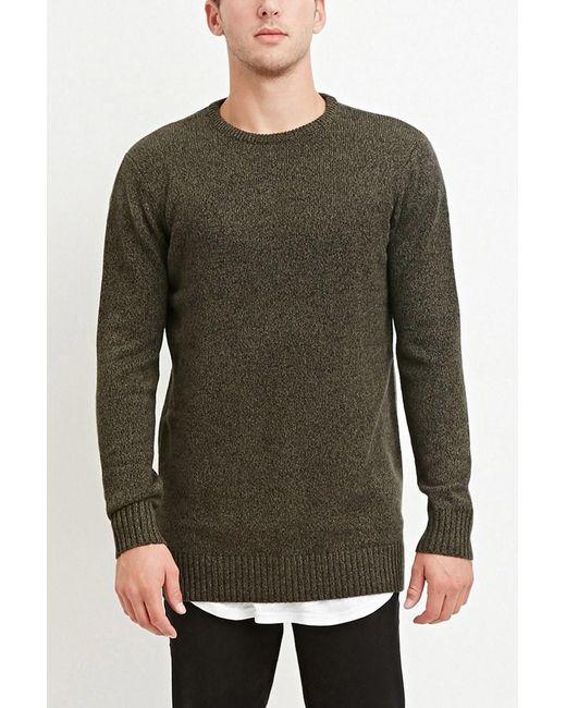 Forever 21 - Green Vented-hem Marled Sweater for Men - Lyst