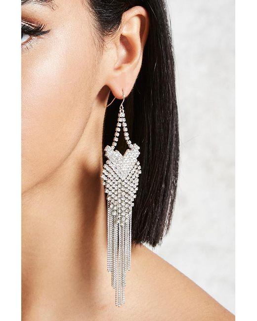 Forever 21   Metallic Rhinestone Duster Earrings   Lyst