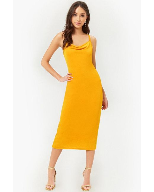 Forever 21 - Yellow Bodycon Midi Dress - Lyst