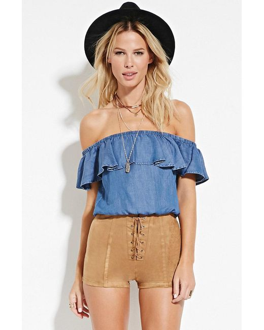 Forever 21 | Brown Lace-up Faux Suede Shorts | Lyst