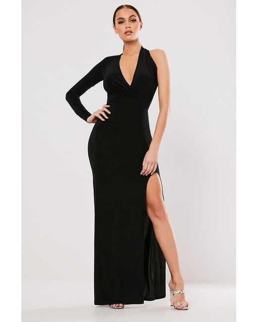 Missguided - One-sleeve Maxi Dress At , Black - Lyst