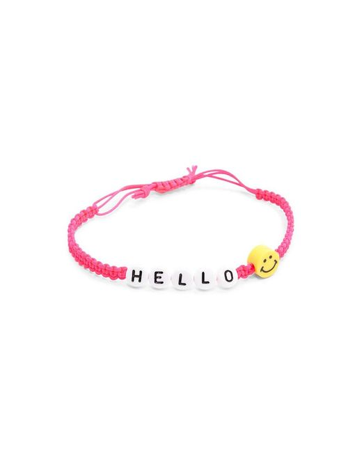 Forever 21 | Pink Beaded Hello Bracelet | Lyst