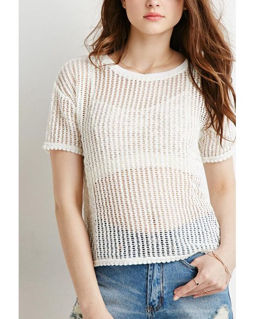 Forever 21 - White Boxy Open-knit Top - Lyst