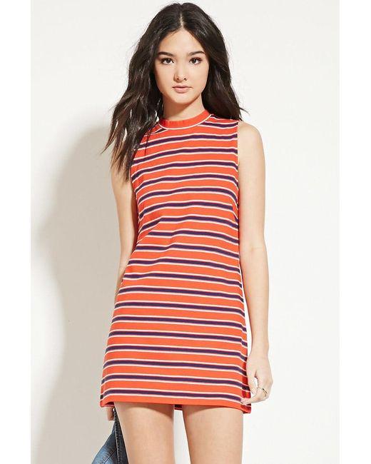 Forever 21 | Red Striped Mock-neck Shift Dress | Lyst