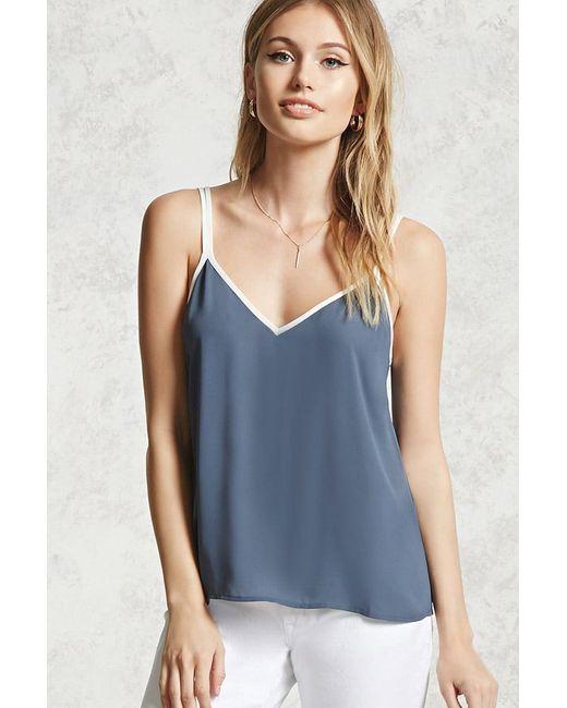 Forever 21   Blue Contrast V-neck Cami   Lyst