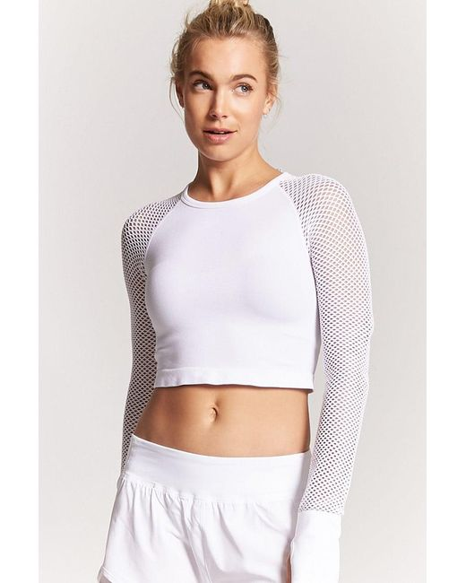 a98bf026c0ae46 Forever 21 - White Active Sheer Mesh Top - Lyst ...