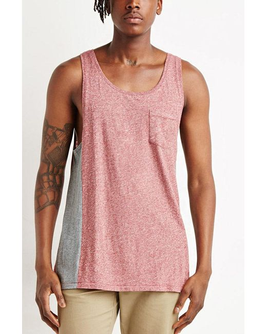 Forever 21 | Red Marled Colorblock Tank for Men | Lyst