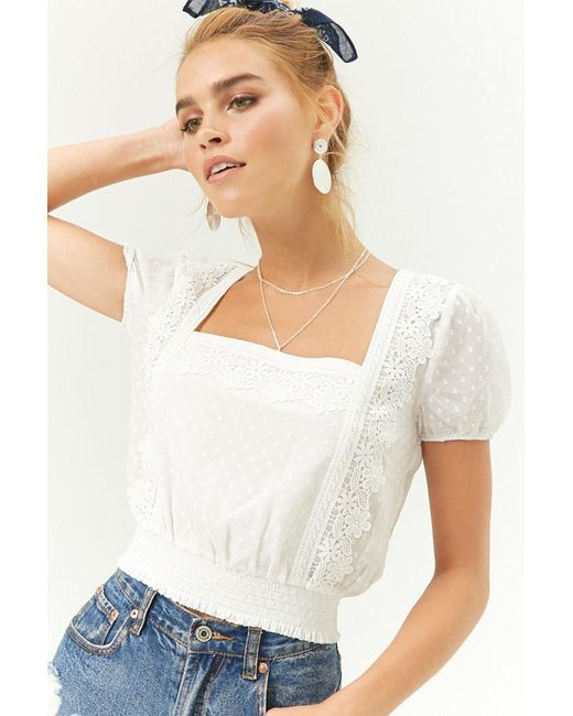 Forever 21 - White Sheer Crochet-trim Dotted Top - Lyst
