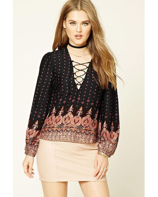 Forever 21 | Black Lace-up Damask Print Top | Lyst