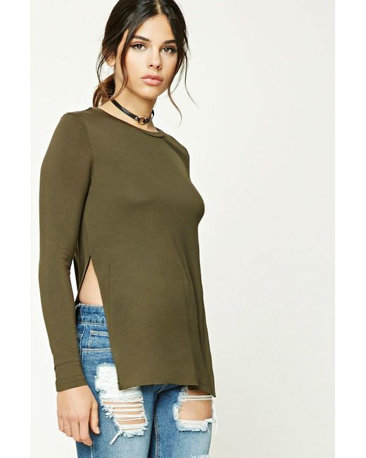 Forever 21 | Green Slub Knit Vented Top | Lyst
